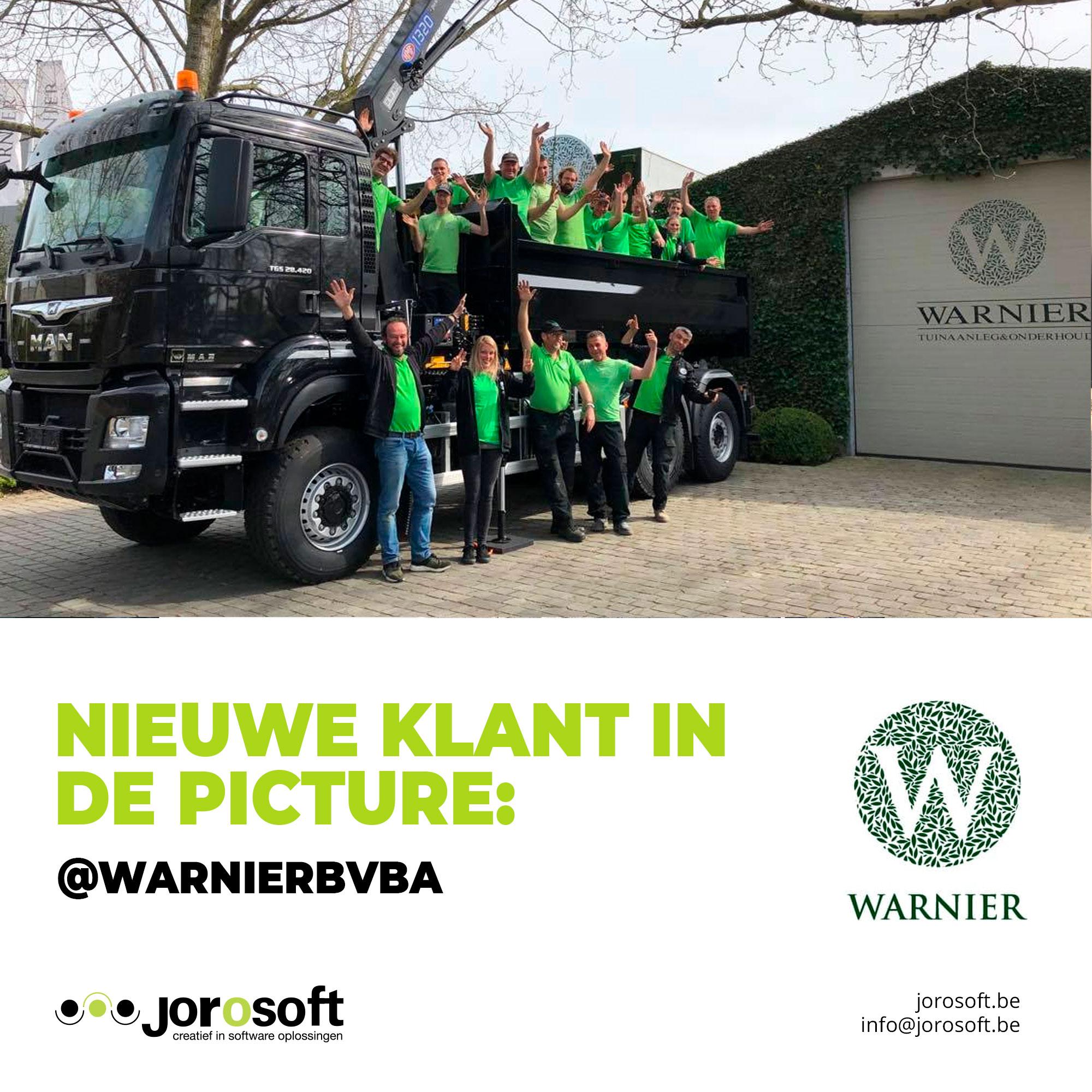 Nieuwe klant in the picture: Warnier bvba!